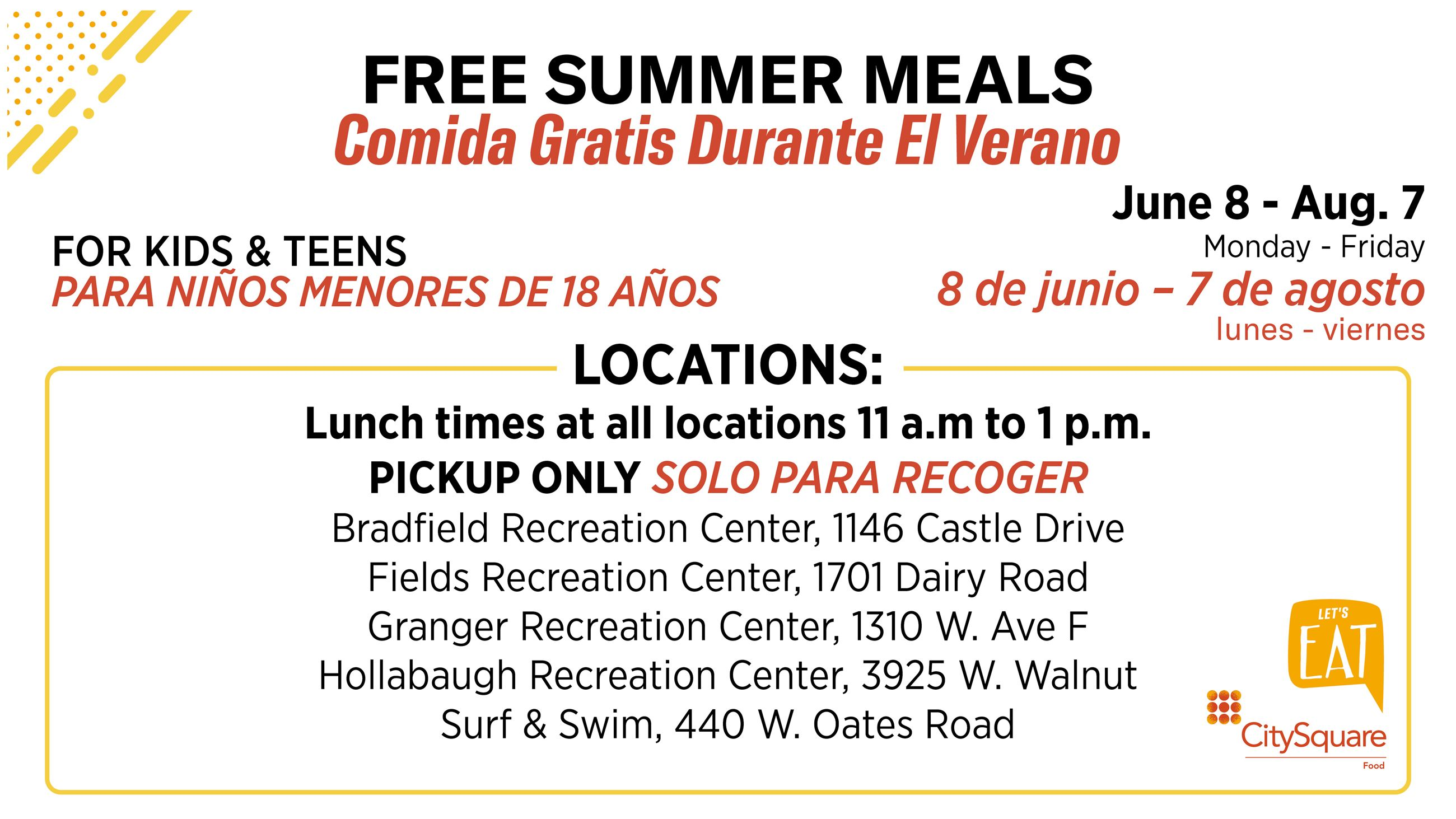 Summer Nutrition Program 2020 poster with location details explained in text below